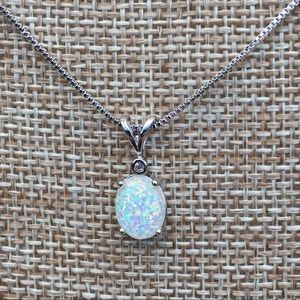 Sterling fire opal necklace